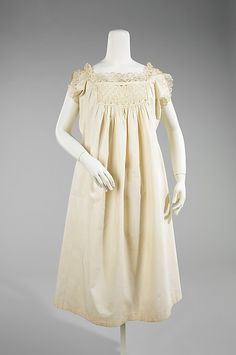 Chemise Date: 1876 Culture: American Medium: cotton Dimensions: Length at CB: 40 in. (101.6 cm)