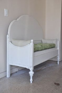 Old bed (headboard and footboard) into a cute bench.