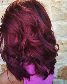 Thick, Curled Mid-Length Burgundy Hair