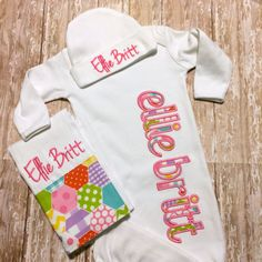 Baby Girl Coming Home Outfit Baby Gown Beanie by sunfirecreative, $32.00
