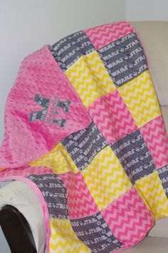 Star Wars & Chevron Baby Girl Blanket with Minky Backing via Etsy Personalized Initial