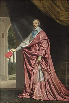 The Perfect effect canvas of oil painting Philippe de Champaigne Cardinal de Richelieu  size 30 x 45 inch  76 x 113 cm this Reproductions Art Decorative Canvas Prints is fit for Bedroom decor and Home decor and Gifts