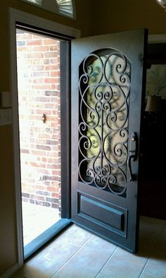 gorgeous front door - wrought iron by gaminee.ongali gorgeous front door – wrought iron by gaminee.ongali gorgeous front door – wrought iron by gaminee. Front Gate Design, Front Gates, Front Entry, Iron Front Door, Entry Doors, Door Entryway, Exterior Doors, Windows And Doors, Home Deco