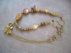 Brown Stone Necklace / Multi Stone / Tiger's Eye / by FOLIOSA, $22.00