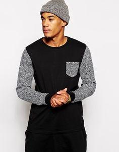 ASOS Long Sleeve T-Shirt With Printed Sleeves And Pocket