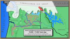Glacial Lake Missoula Map showing path of the Ice Age Floods.