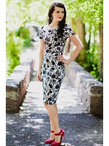 Amelia Dress in Black & White Print
