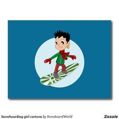 Snowboarding girl cartoon postcard