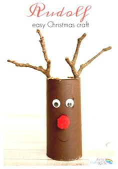 Easy Paper Tube Rudolf Christmas Craft- the perfect craft for toddlers and preschoolers! they will love using their collection of twigs to help transform their paper rolls into reindeers. crafts for preschoolers Easy Paper Roll Rudolph Christmas Craft Kids Crafts, Toddler Crafts, Easy Crafts, Preschool Crafts, Rudolph Christmas, Preschool Christmas, Christmas Ornaments, Christmas Christmas, Easy Christmas Crafts For Toddlers