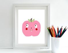 Digital Art, Apple Art Print, Printable Art, Illustration Art, Art, Illustration Print