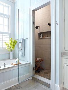 walk in shower, recessed niche