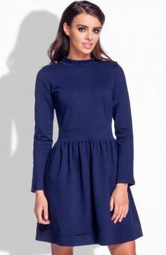 Lemoniade L174 sukienka granatowa Rewelacyjna sukienka, wykonana z miękkiej dresowej dzianiny, góra dopasowana wykończona stójką High Neck Dress, Dresses For Work, Fashion, Turtleneck Dress, Moda, Fashion Styles, Fasion, High Neckline Dress