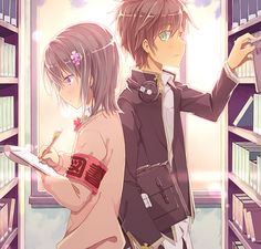 here is a cute anime couple at the library. the scenery is pretty great