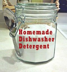 - 1 cup Washing soda - 1 cup Borax - ½ cup salt - 2 pkts unsweetened lemonade koolaid Vinegar and dishwashing detergent  Mix first four ingredients in an airtight container. Add 1 heaping TB with 3 drops dishwashing detergent and a splash of vinegar to every load.