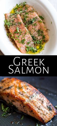 This delicious and easy Greek Salmon is the perfect quick healthy dinner for the whole family. The marinade is a simple mix of olive oil, lemon, dill, and oregano. The fish is pan-fried, giving it a wonderfully crisp exterior and meltingly tender and succulent center. Perfect for serving with orzo and a Greek salad. Transport your self to Greece with the traditional and authentic recipe for Greek Salmon! Salmon Steak Recipes, Delicious Salmon Recipes, Salmon Marinade, Seafood Recipes, Healthy Dinner Recipes, Tilapia Recipes, Fish Recipes, Cooking Salmon Fillet, Pan Fried Salmon