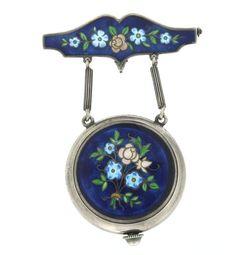 Vintage Seeland Sterling & Enamel Lapel Watch Pin