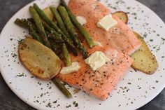 Baked Steelhead Trout With Asparagus, Potatoes and Herbs