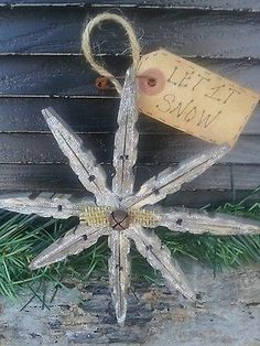 PriMiTiVe 3 Snowflake Clothes Pin Ornies*Burlap Bell*Farmhouse Christmas Rustic  #Country