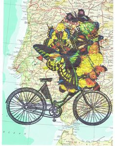 Bike.Bicycle.Butterflies.Map.Collage.Atlas.Page by JackieBassettArt
