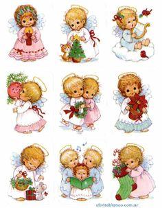 angelitos Christmas Decoupage, Christmas Wood, Christmas Pictures, Christmas Angels, Vintage Christmas, Christmas Crafts, Christmas Ornaments, Christmas Clipart, Christmas Printables