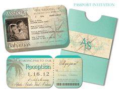 Very beach themed passport invite. We really do love these.