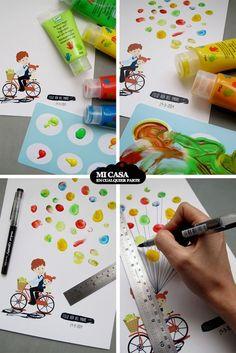 Dibujo hecho con pintura de dedos. Regalo casero para el dia del padre. Paso a paso. Fathers Day DIY gift. Fingerpainting   Blog www.micasaencualquierparte.com
