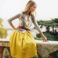 ombre hair - yellow skirt - grey argyle cardigan =LOVE