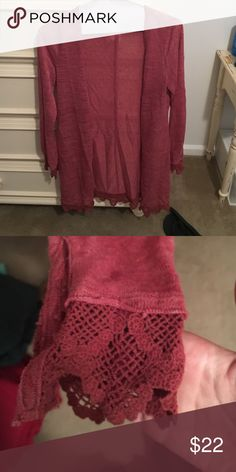 Free People Sweater Very light weight. Good condition. Lace boarding bottom and sleeves. Red/burgundy color! Free People Sweaters