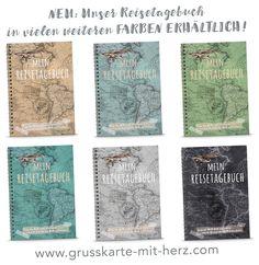 Reisetagebuch A5 Spiralgebunden in verschiedenen Farben erhältlich bei Grußkarte mit Herz