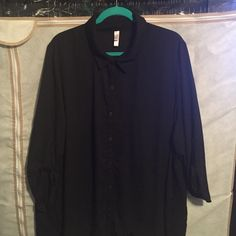 Black blouse Black semi-sheer, hi-low button up with 3/4 sleeves Xhilaration Tops Button Down Shirts