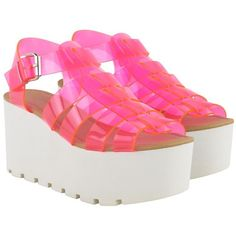 Pink Perspex Jelly Strappy Gladiator Sandals Clarissa (1.810 RUB) ❤ liked on Polyvore featuring shoes, sandals, pink, footwear, strap sandals, jelly sandals, glitter jelly shoes, pink glitter shoes and strappy sandals