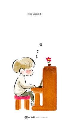 Fanart Yoongi by Fanart Bts, Yoonmin Fanart, K Wallpaper, Cartoon Wallpaper, Bts Cute, Kpop Drawings, Dibujos Cute, Bts Chibi, Bts Fans