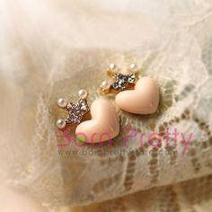 $1.39 Fashion Cute Lovely Sweet Rhinestone Crown Love Heart Stud Earring - BornPrettyStore.com