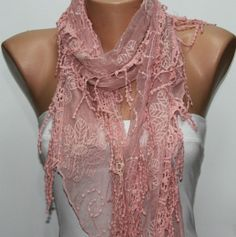 Pink  Shawl Scarf  Headband Necklace Cowl with Lace by fatwoman, $19.00