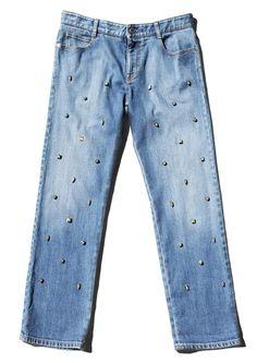 Stella McCartney Blue Studded Skinny Boyfriend Jeans