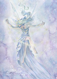 Fairy Art Print - Star Fairy Ballet Dancer with Garland - Twilight Sky Fantasy Kunst, Fantasy Art, Fantasy Fairies, Fairy Pictures, Blue Fairy, Beautiful Fairies, Angel Art, Fairy Art, Magical Creatures