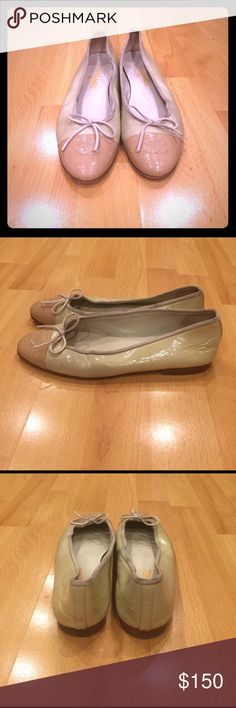 Women's Chanel Ballet Flats Authentic Change Ballet logo flats , two tone, shows wear as pictured, small scuff mark on left shoe, but good condition otherwise. CHANEL Shoes Flats & Loafers