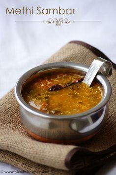 Menthi Kura Sambar Recipe - Vendhaya Keerai Sambar - Methi Leaves Sambar Recipe | Indian Cuisine