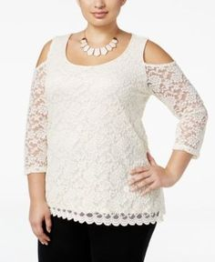 Ny Collection Plus Size Cold-Shoulder Lace Blouse - White 2X