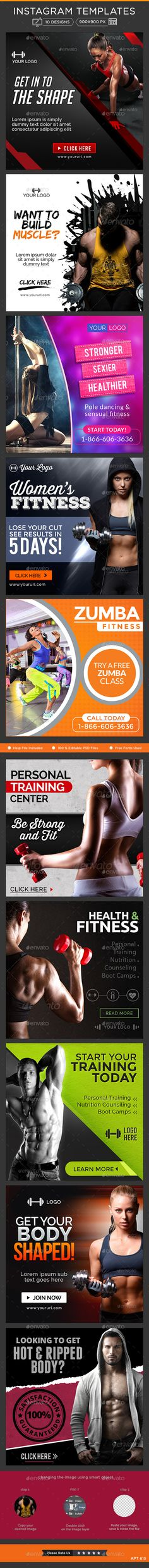 Health & Fitness Instagram Templates - 10 Designs #design Download: http://graphicriver.net/item/health-fitness-instagram-templates-10-designs/11418858?ref=ksioks