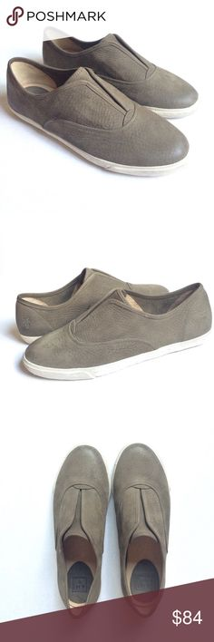 Frye Mindy Slip on sneakers Frye Mindy Slip on sneakers in size 10M in army green color. Leather material upper and lining. There's just some small marks on the side of the shoe↪️ pls see photo,other than that it's in EUC, worn once. Frye Shoes Sneakers