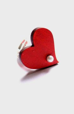 Red Heart Ring Offbeat Bridal Wedding Jewelry