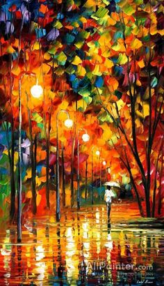 In The Rain Painting Orange Wall Art By Leonid Afremov - Long Alley. Size: X Inches - -Walking In The Rain Painting Orange Wall Art By Leonid Afremov - Long Alley. Size: X Inches - - Rain Painting, Oil Painting On Canvas, Painting Trees, Knife Painting, Painting Abstract, Orange Wall Art, Art Watercolor, Love Art, Painting Inspiration
