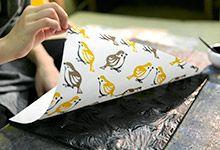 Wood-print Japanese Washi Paper: sparrow