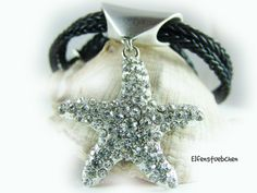 Women's necklace leather with a big starfish by elfenstuebchen