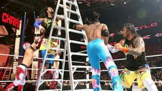 The New Day def. The Usos & The Lucha Dragons in a Triple threat Tag Team Ladder Match for the Wwe Tag Team Championship 12/13/15
