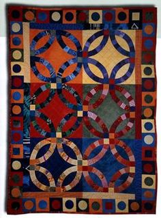 """Complementary Colors"", double wedding ring quilt, in:  'Cheerful Quilts: Patterns for 9 Colorful Quilts' by Christiane Meunier, Shelley Knapp, Mary Russell"