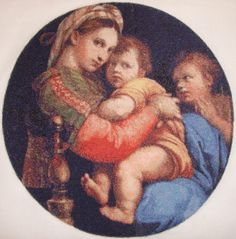 Madonna of the Chair by Raphael. Pattern by Scarlet Quince, Stitched on 22 count Aida.