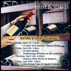 Celebrate world-class wine and liquor by joining #CampbellStationWineAndSpirits' exciting range of tastings and events for the month of April! Check our list below for upcoming events.  Visit our website: http://www.campbellstationwine.com/
