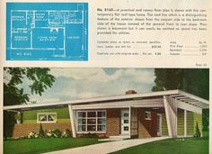 Mid Century House Plans- love the look, even the floorplan but where are the bedroom closets.probably the only thing to change Modern Floor Plans, Modern House Plans, Mid Century Ranch, Mid Century House, Frank Lloyd Wright, Mison, Modern Birdhouses, Die Sims, Ranch Exterior